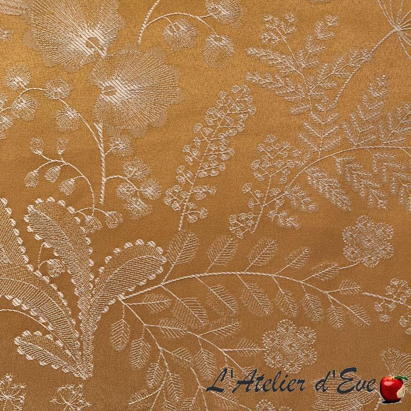 """Phoenix"" jacquard Tissu ocre fleurs Thevenon"