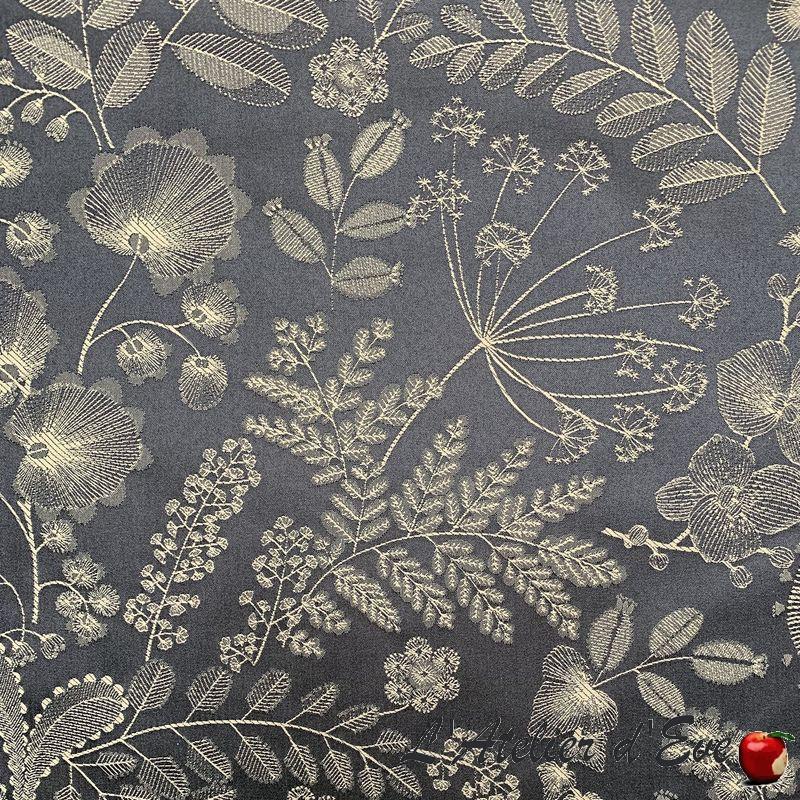 """Phoenix"" jacquard Tissu noir fleurs Thevenon"
