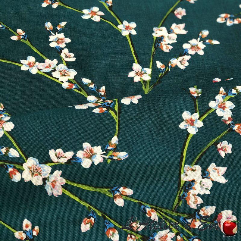 """""""Fleurs d'amandier"""" Tissu vert coton grande largeur Thevenon"""