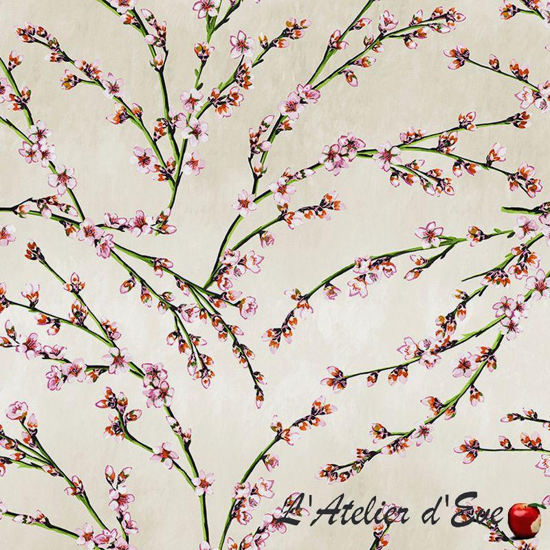 """""""Fleurs d'amandier"""" Tissu beige coton grande largeur Thevenon"""