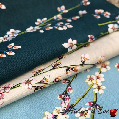 """""""Fleurs d'amandier"""" Tissu coton grande largeur Thevenon"""