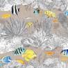 La vie en bleu Tissu ficelle coton grande largeur Thevenon