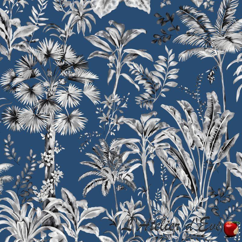 """Wonderland"" Tissu bleu coton grande largeur Thevenon"