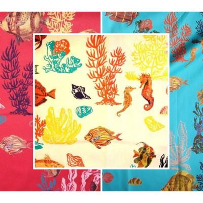 Sous la mer 3 coloris Tissu ameublement coton L.150cm pour siege Poissons Thevenon