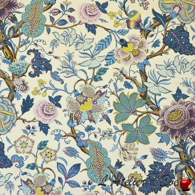 """Madurai"" Tissu bleu coton Les arbres de vie Casal"