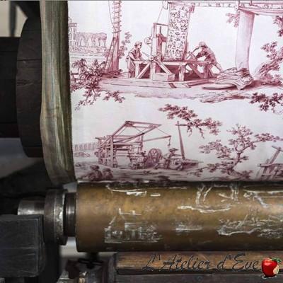 """""""Les travaux de la manufacture"""" Toile de jouy coton Casal"""