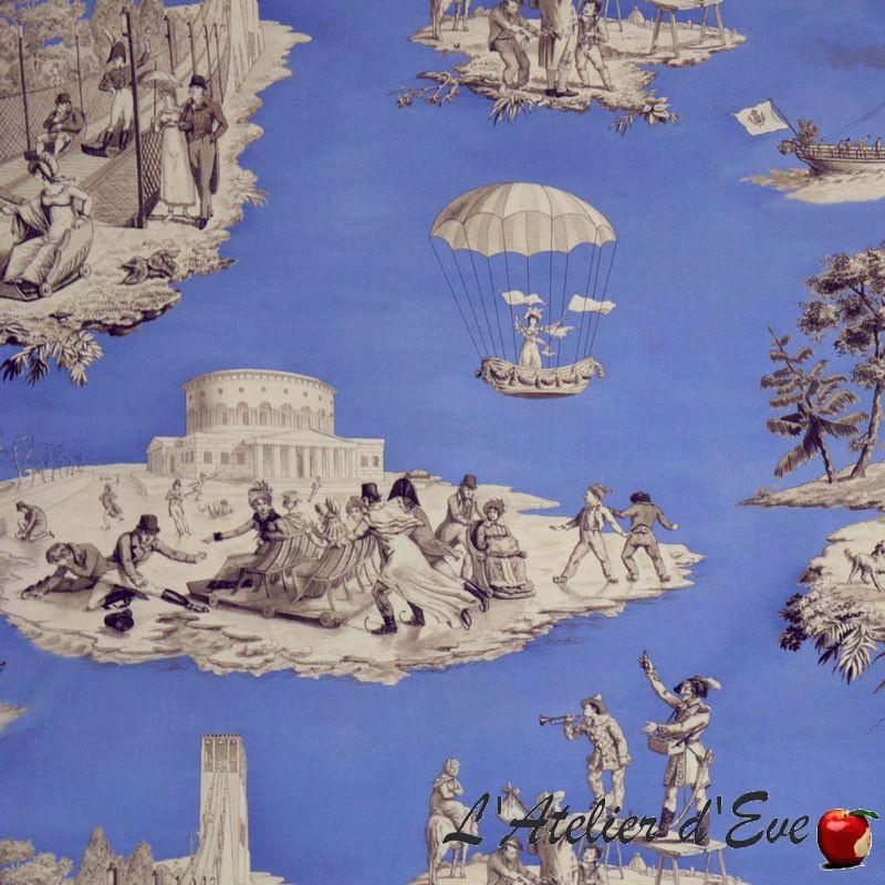 """""""Plaisirs d'hiver"""" Toile de jouy bleu Patrimoine Casal"""