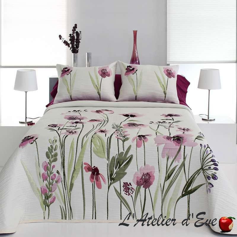 """Okara"" Couvre-lit rose et vert polycoton Reig Marti C.02"