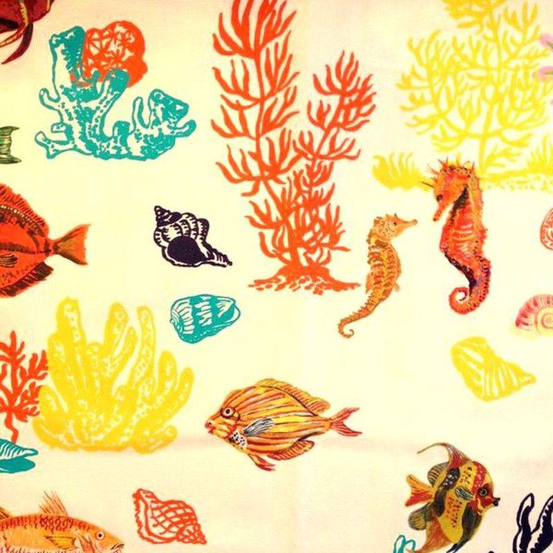 Sous la mer Rouleau tissu ameublement coton Thevenon
