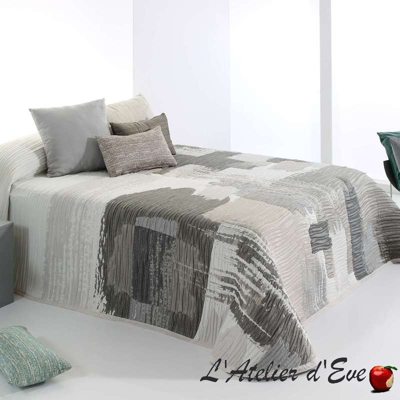 """Bryce"" taupe et gris Couvre-lit polyester lavable Reig Marti C.01"