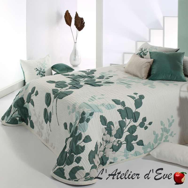 """""""Leslie"""" Couvre-lit lavable tons vert bleu turquoise polycoton Reig Marti C.04"""