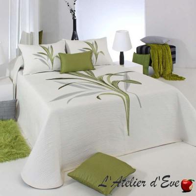 """""""Lynette"""" Couvre-lit tons de verts polycoton reversible fleuri Reig Marti C.04"""