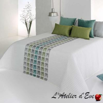 """""""Leik"""" Couvre-lit carreaux vert turquoise gris polyester lavable Reig Marti C.04"""