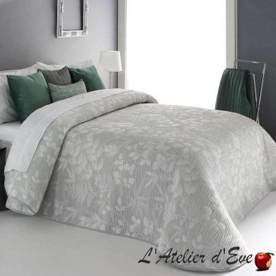 """""""Octavia"""" Promotion couvre-lit gris ecru fleuri polyester lavable Reig Marti C.08"""