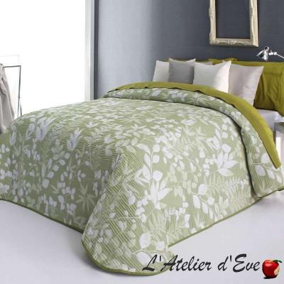 """""""Octavia"""" Promotion couvre-lit vert fleuri polyester lavable Reig Marti C.04"""