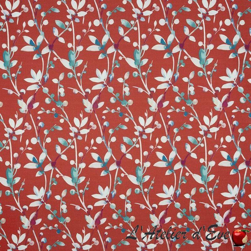 """Trebah"" Tissu rouge fleuri Tresco Prestigious Textiles"