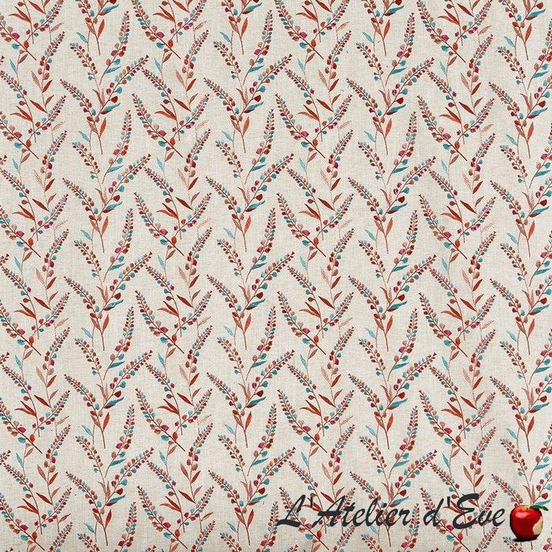 """Wisley"" Tissu tigerlilly fleuri brodé Tresco Prestigious Textiles"