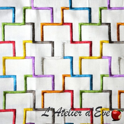"""Tetris"" Coupon 100x137cm Canvas embroidered furniture Thevenon"