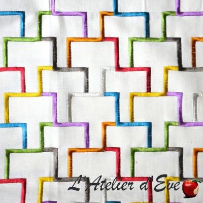 """- """"Tetris"""" Coupon 100x137cm Toile ameublement brodée Thevenon"""