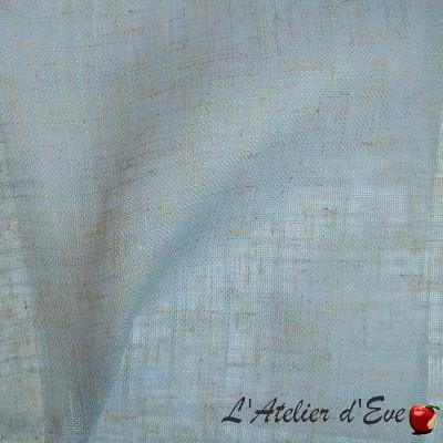 """Etamine"" Coupon 150x300ccm voilage bleu aspect lin Thevenon"