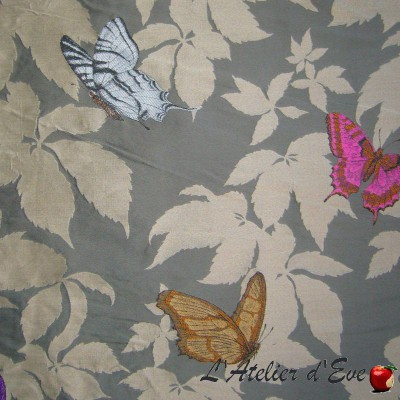 """Butterfly Garden"" taupe Coupon 200x150cm Jacquard upholstery fabric Thevenon"