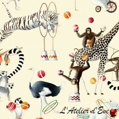 """Circus parade"" Toile Coton Remise 30% Rouleau tissu ameublement Thevenon"