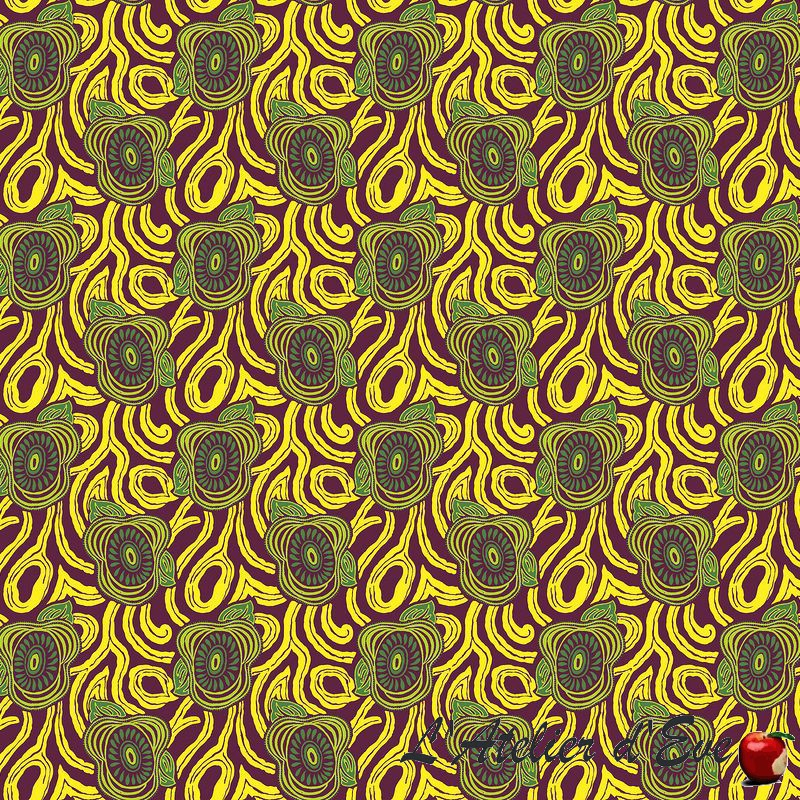 """Morning Glory"" Tissu jaune ameublement coton provençal Thevenon"