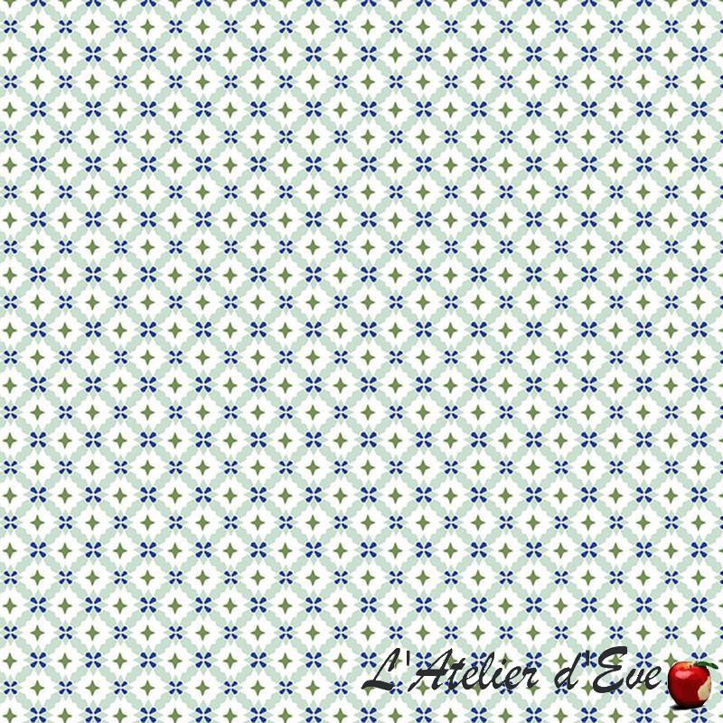 """""""Cravate"""" Tissu bleu ameublement coton provençal Thevenon"""