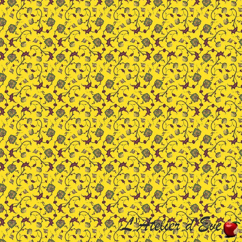 """Wall Paper"" Tissu jaune ameublement coton provençal Thevenon"
