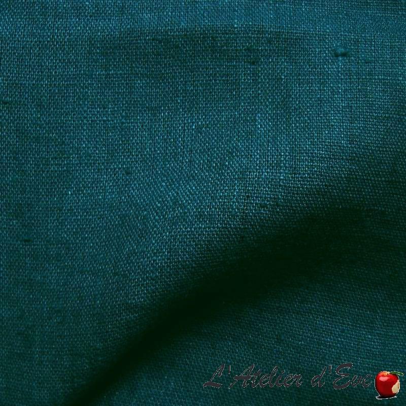 """""""Lin lavé"""" bleu vert Coupon 100x140cm tissu ameublement Thevenon"""