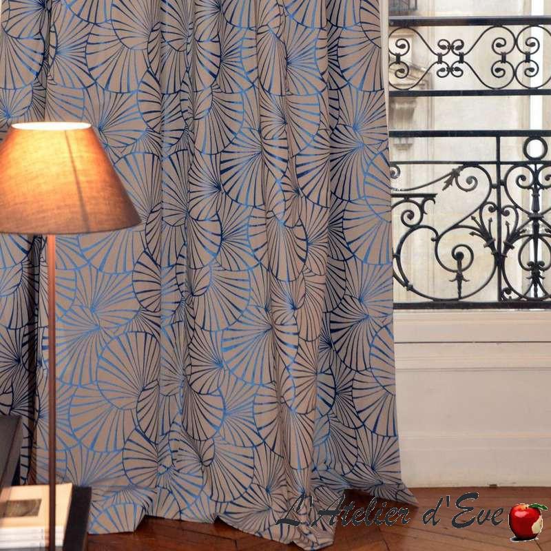 """Nympheas"" Rideau bleu Made in France moderne Thevenon"