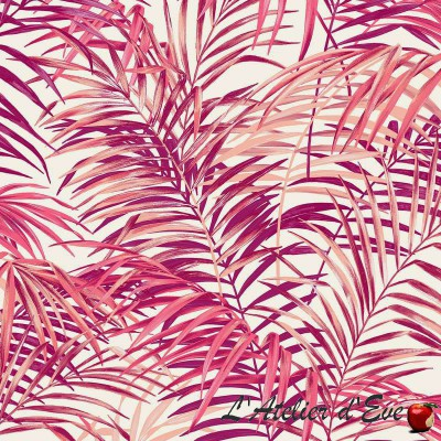 "- ""Palm springs"" rose Coupon 100x280cm tissu ameublement Thevenon"