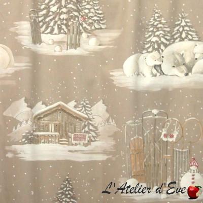 "- ""Blanc Comme Neige"" Coupon 270x140cm tissu coton montagne Thevenon"