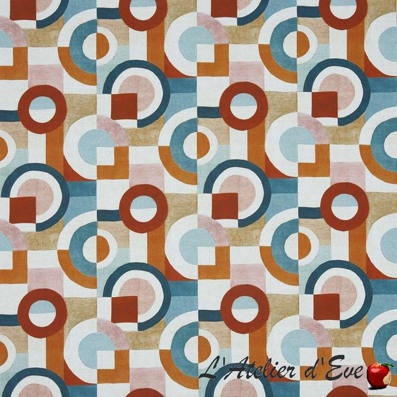 """Puzzle"" Auburn Tissu ameublement coton lin Prestigious Textiles"