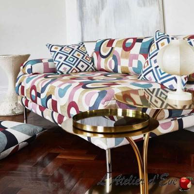 """Puzzle"" Tissu ameublement coton lin Abstract Prestigious Textiles"