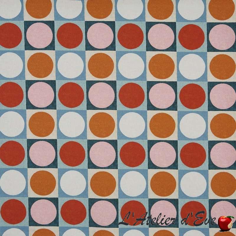 """Domino"" auburn Tissu ameublement coton lin Abstract Prestigious Textiles"