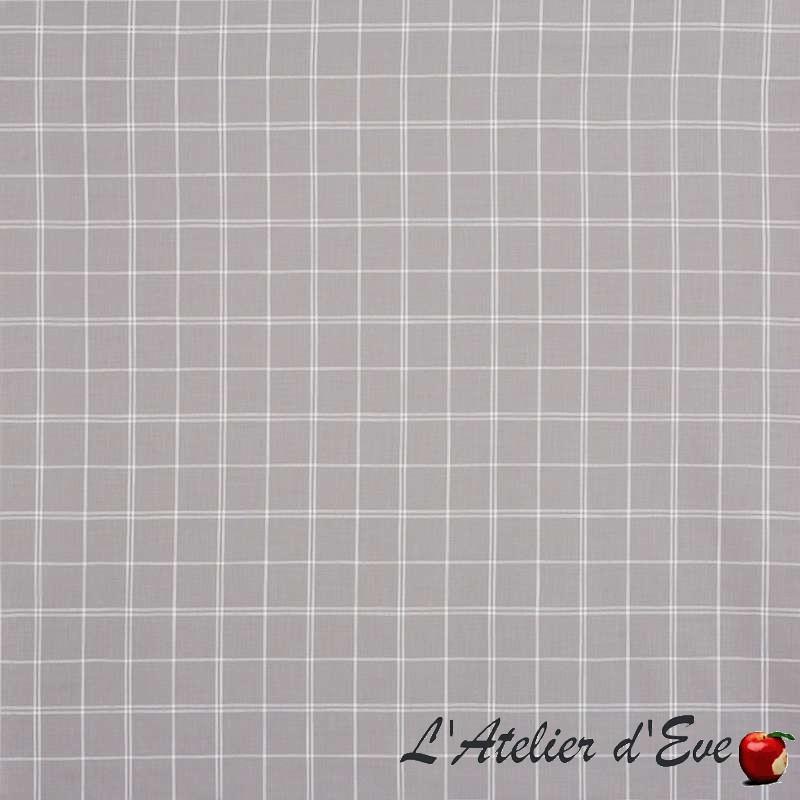 """Boston"" silver Tissu ameublement coton carreaux Hamptons Prestigious Textiles"