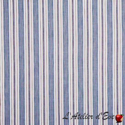 """Woodmere"" Hamptons striped cotton upholstery fabric Prestigious Textiles"