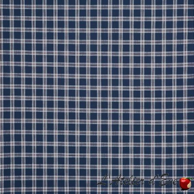 """Bridgehampton"" navy Tissu ameublement coton carreaux Hamptons Prestigious Textiles"