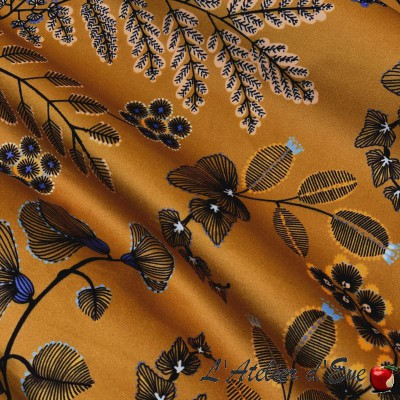 """Phoenix"" Thevenon floral coated fabric"