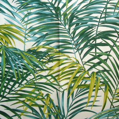 Palm Springs - Rouleau tissu vert gris ameublement grande largeur coton Thevenon