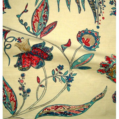 Calamine canvas floral embroidered furniture turquoise/raspberry Thévenon