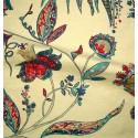 Calamine Toile ameublement brodée fleurie turquoise/framboise Thevenon