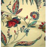 Calamine Toile ameublement brodee L.133cm fleurie turquoise/framboise Thevenon