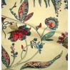 Calamine Rideau à oeillets brodée fleurie turquoise/framboise Thevenon