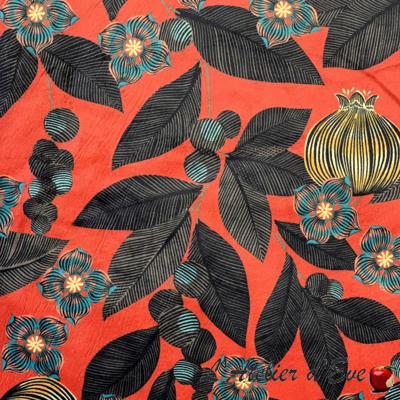 """""""Fruit du paradis"""" Tissu velours fleuri Thevenon"""