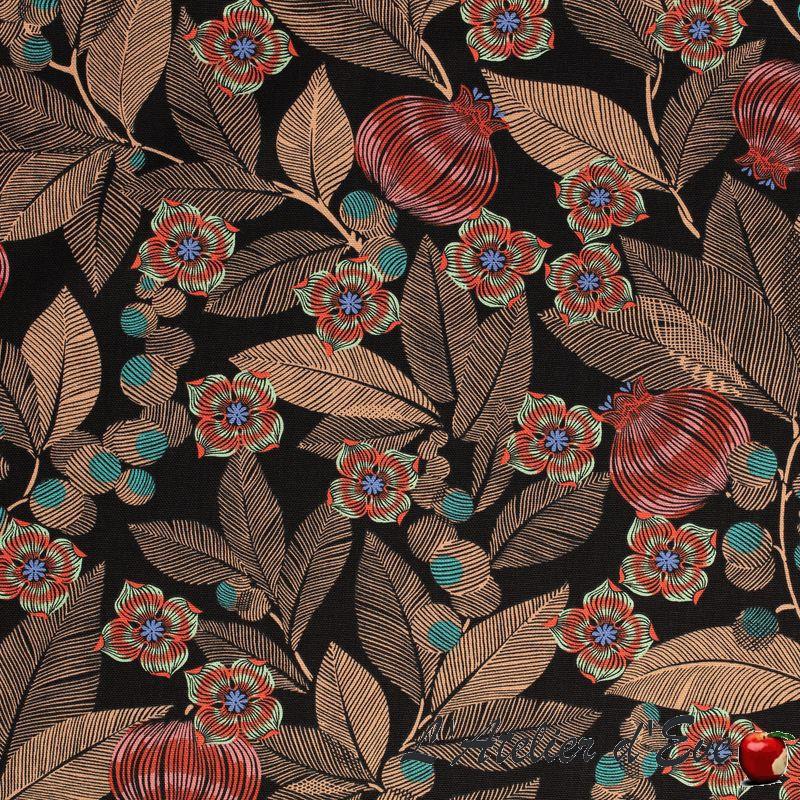 """""""Fruit du paradis"""" Toile de coton grande largeur fleurie Thevenon"""