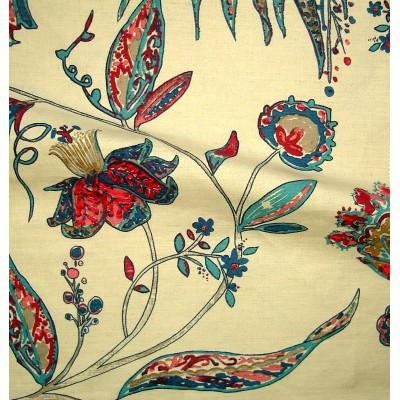 Calamine Rouleau toile ameublement brodee L.133cm fleurie turquoise/framboise Thevenon La piece ou demi-piece