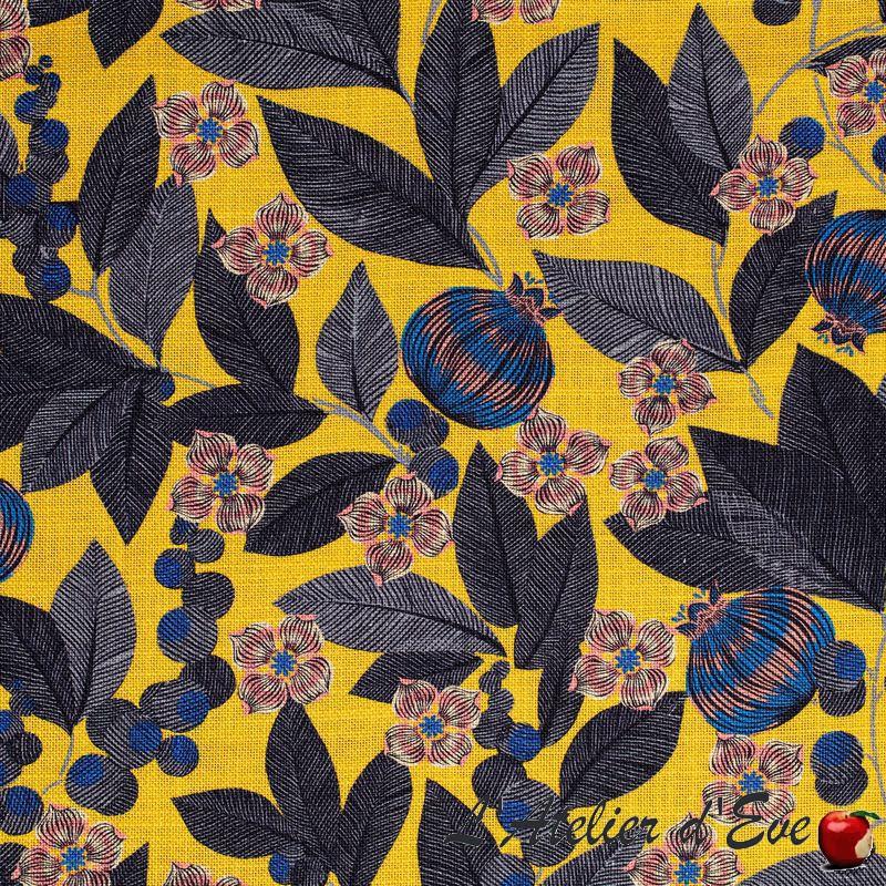 """""""Fruit du paradis"""" Toile de lin fond jaune fleurie ameublement Thevenon"""