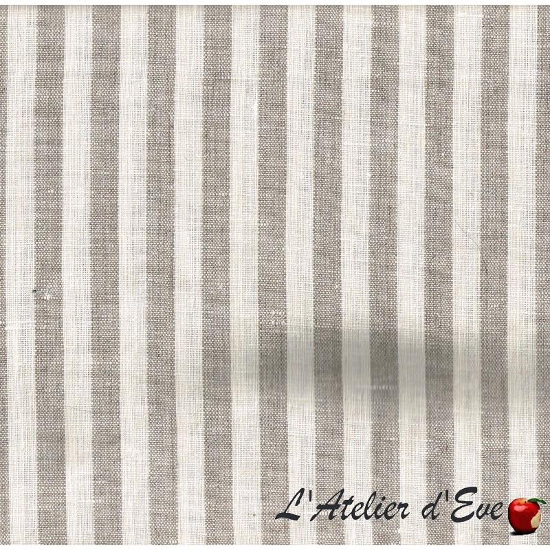 "- ""Nature lin"" Coupon 1m60x3m tissu ameublement rayures lin"